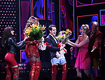 'Panic! at The Disco's' Brendon Urie makes his broadway debut as 'Charlie Price' in 'Kinky Boots' with J. Harrison Ghee and Taylor Loudermanon with cast Broadway at The Al Hirschfeld Theatre on June 4, 2017 in New York City.