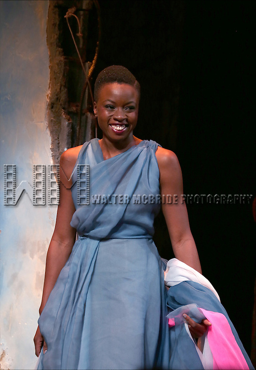 Danai Gurira onstage during the 'Eclipsed' broadway opening night curtain call at The Golden Theatre on March 6, 2016 in New York City.