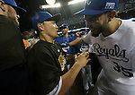 (L-R) Norichika Aoki, Eric Hosmer (Royals),<br /> OCTOBER 5, 2014 - MLB :<br /> Norichika Aoki and Eric Hosmer of the Kansas City Royals celebrate after winning the American League Division Series (ALDS) Game 3 against the Los Angeles Angels at Kauffman Stadium in Kansas City, Missouri, United States. (Photo by AFLO)