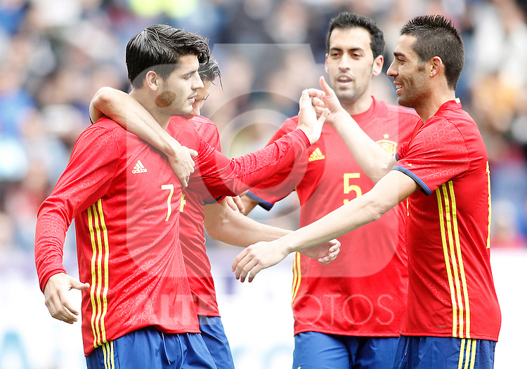 Spain's Alvaro Morata, Hector Bellerin, Sergio Busquets and Bruno Soriano celebrate goal during friendly match. June 1,2016.(ALTERPHOTOS/Acero)