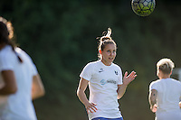 Seattle, Washington - Saturday, July 2nd, 2016: Seattle Reign FC forward Manon Melis (14) goes up for a header prior to a regular season National Women's Soccer League (NWSL) match between the Seattle Reign FC and the Boston Breakers at Memorial Stadium. Seattle won 2-0.