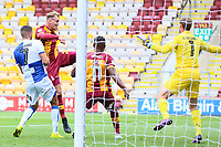 Charlie Wyke of Bradford City scores his first of 3 goals during the Sky Bet League 1 match between Bradford City and Bristol Rovers at the Northern Commercial Stadium, Bradford, England on 2 September 2017. Photo by Thomas Gadd.