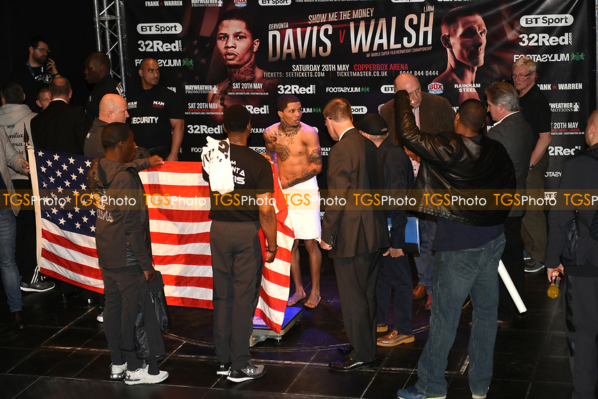 Gervonta Davis tries to the make the weight during a Weigh-In at the Theatre Royal Stratford East on 19th May 2017