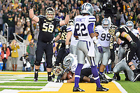 Baylor offensive tackle Spencer Drango (58) celebrates touchdown by running back Johnny Jefferson (2) during an NCAA football game, Saturday, December 06, 2014 in Waco, Tex. (Mo Khursheed/TFV Media via AP Images)