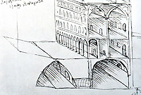 Leonardo:  Exterior and section of Palaces in city with raised streets.  Photo '84.