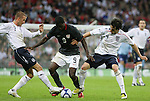 28 May 2008: Eddie Johnson (USA) (9) is stripped of the ball by David Beckham (ENG) (7) and Owen Hargreaves (ENG) (4). The England Men's National Team defeated the United States Men's National Team 2-0 at Wembley Stadium in London, England in an international friendly soccer match.
