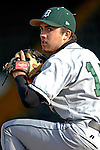 24 April 2007: Dartmouth College Big Green pitcher Thomas D'Antonio, a Freshman from Garden City, CA, warms up in the bullpen during a game against the University of Vermont Catamounts at Historic Centennial Field, in Burlington, Vermont...Mandatory Photo Credit: Ed Wolfstein Photo