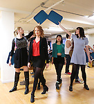 Jessica Keenan Wynn and Alice Lee with the cast performing at the Open Press Rehearsal for 'Heathers The Musical' on February 19, 2014 at The Snapple Theatre Center in New York City.