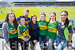 Elizabeth Meehan (Kilmoyley) Sean Darcy (Tipperary) Shannon Leahy (Blennerville) Joanne Meehan (Kilmoyley) Doireann O'Carroll (Tralee) Aileen Murphy (Blennerville) and Iren Okunbr (Tralee), pictured at Fitzgerald Stadium, Killarney, cheering on Kerry on Sunday last.