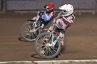 Heat 14: Linus Sundstrom (white) and Stuart Robson - Lakeside Hammers vs Peterborough Panthers - Sky Sports Elite League Speedway at Arena Essex Raceway, Purfleet - 14/09/12 - MANDATORY CREDIT: Gavin Ellis/TGSPHOTO - Self billing applies where appropriate - 0845 094 6026 - contact@tgsphoto.co.uk - NO UNPAID USE.