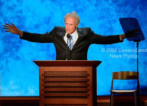 Actor and Director Clint Eastwood makes remarks at the 2012 Republican National Convention in Tampa Bay, Florida on Thursday, August 30, 2012.  .Credit: Ron Sachs / CNP.(RESTRICTION: NO New York or New Jersey Newspapers or newspapers within a 75 mile radius of New York City)