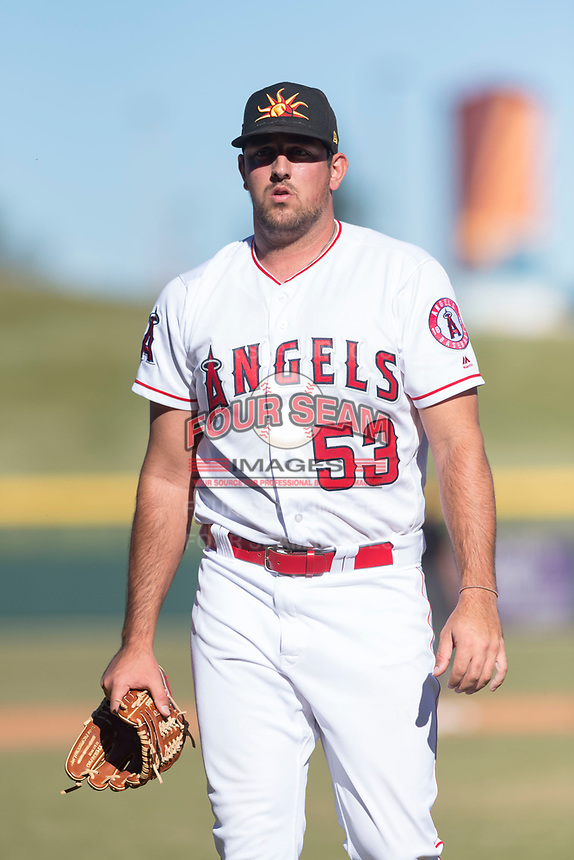 Mesa Solar Sox relief pitcher Brett Hanewich (53), of the Los Angeles Angels organization, walks off the field between innings of an Arizona Fall League game against the Surprise Saguaros at Sloan Park on November 15, 2018 in Mesa, Arizona. Mesa defeated Surprise 11-10. (Zachary Lucy/Four Seam Images)