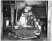 Front view of D&amp;RGW #473 K-28 in Durango roundhouse.<br /> D&amp;RGW  Durango, CO  Taken by Payne, Andy M. - 8/5/1966