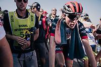 stage winner up the Mûr de Bretagne Daniel Martin (IRE/UAE) escorted to the podium<br /> <br /> Stage 6: Brest > Mûr de Bretagne / Guerlédan (181km)<br /> <br /> 105th Tour de France 2018<br /> ©kramon