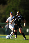 03 DEC 2011: Carmelina Puopolo (5) of Saint Rose and Alyssa Mira (16) of GVSU battle for the ball during the Division II Women's Soccer Championship held at the Ashton Brosnaham Soccer Complex in Pensacola, FL.  Saint Rose defeated Grand Valley State 2-1 to win the national title.  Stephen Nowland/NCAA Photos