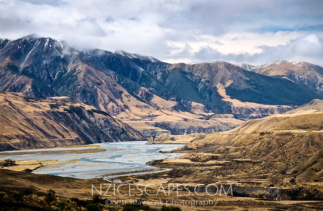 Waimakariri River near Arthur's Pass with Black Range mountains behind - Canterbury, New Zealand