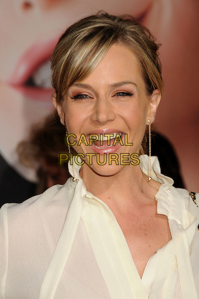 "JULIE BENZ.""Tangled"" Los Angeles Premiere held at the El Capitan Theatre, Hollywood, California, USA..November 14th, 2010.headshot portrait top blouse shirt white dangling gold earrings mouth open.CAP/ADM/BP.©Byron Purvis/AdMedia/Capital Pictures."