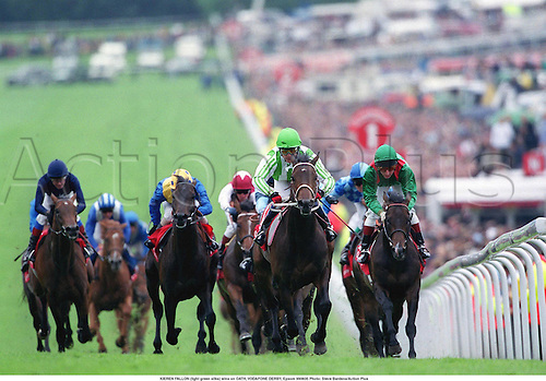 KIEREN FALLON (light green silks) wins on OATH, VODAFONE DERBY, Epsom 990605 Photo: Steve Bardens/Action Plus...1999.0578.flat .horse racing.equestrian sports