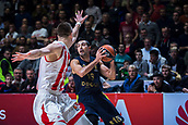 22nd March 2018, Aleksandar Nikolic Hall, Belgrade, Serbia; Turkish Airlines Euroleague Basketball, Crvena Zvezda mts Belgrade versus Fenerbahce Dogus Istanbul; Guard Kostas Sloukas of Fenerbahce Dogus Istanbul in action against Center Alan Omic of Crvena Zvezda mts Belgrade