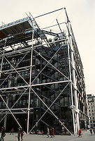 Renzo Piano and Richard Rogers: Centre Pompidou, Paris. Elevation--SW Corner.
