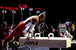 20 APR 2012: Michael Reid of Oklahoma competes in the pommel horse during the Division I Men's Gymnastics Championship held at the Lloyd Noble Center on the University of Oklahoma campus in Norman, OK. The University of Oklahoma finished in second place with a soce of 357.45.  Stephen Pingry/NCAA Photos