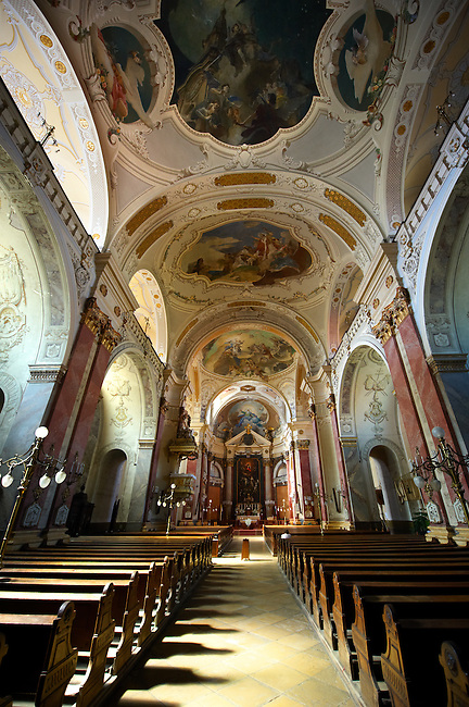 Baroque interior of The Great Church, Hungary Kecskemét