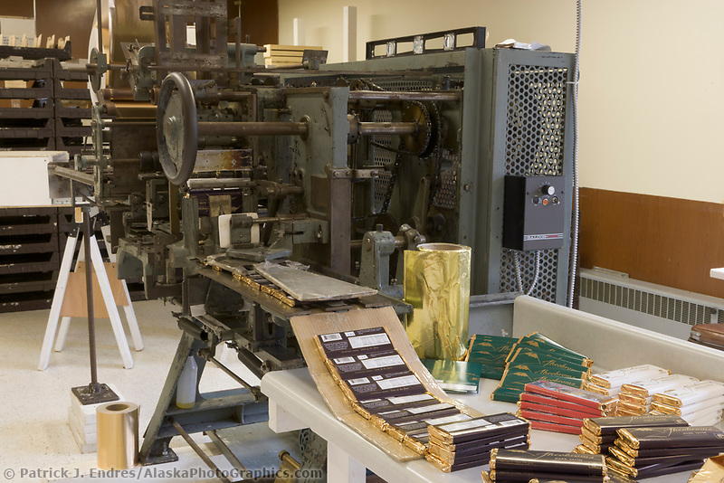 Theobroma chocolate company, old chocolate bar wrapping machine, Sitka, Alaska