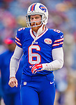 14 December 2014: Buffalo Bills punter Colton Schmidt concludes his pre-game warm ups prior to facing the Green Bay Packers at Ralph Wilson Stadium in Orchard Park, NY. The Bills defeated the Packers 21-13, snapping the Packers' 5-game winning streak and keeping the Bills' 2014 playoff hopes alive. Mandatory Credit: Ed Wolfstein Photo *** RAW (NEF) Image File Available ***
