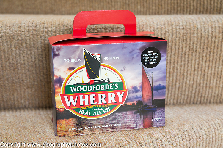 Woodforde's Wherry real ale kit beer home brewing box package, UK
