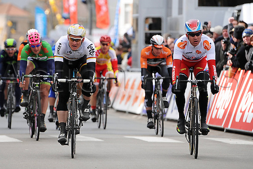 02.04.2015, Flanders, Belgium. Cycling Three Days of De Panne Stage 3. Katusha 2015, Greipel Andre, Kristoff Alexander, cross the finish line in De Panne