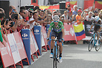 Green Jersey Alejandro Valverde (ESP) Movistar Team loses more time as he approaches the finish line on the final climb of Stage 19 of the La Vuelta 2018, running 154.4km from Lleida to Andorra, Naturlandia, Andorra. 14th September 2018.                   <br /> Picture: Colin Flockton | Cyclefile<br /> <br /> <br /> All photos usage must carry mandatory copyright credit (© Cyclefile | Colin Flockton)