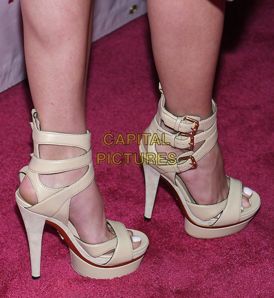 HEIDI MONTAG.Perez Hilton's 31st Birthday Bash held at the Viper Room, Los Angeles, California, USA, 28th March 2009..detail feet booties buckles heels cream sandals platform ankle strap shoes .CAP/ADM/TC.©T. Conrad//Admedia/Capital Pictures