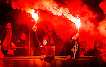 Stockholm 2014-09-28 Fotboll Superettan Hammarby IF - IK Sirius :  <br /> Hammarbys supportrar med bengaliska eldar<br /> (Foto: Kenta J&ouml;nsson) Nyckelord:  Superettan Tele2 Arena Hammarby HIF Bajen Sirius IKS supporter fans publik supporters bengaler bengaliska eldar