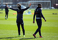 Pictured L-R: Aaron Lewis and Kenji Gorre Friday 24 March 2017<br /> Re: Swansea City U23 training ahead of their International Cup game against Porto, Fairwood training ground, UK