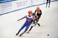 SHORT TRACK: TORINO: 15-01-2017, Palavela, ISU European Short Track Speed Skating Championships, 3000m SF, Winner Semen Elistratov (RUS), Shaolin Sandor Liu (HUN), Sjinkie Knegt (NED), ©photo Martin de Jong