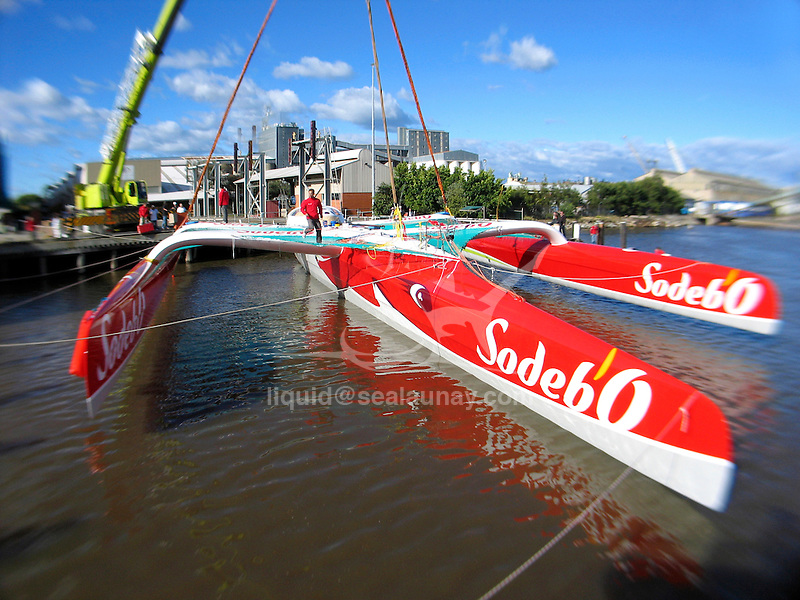 Launch At Newcastle of the 105 feet racing trimaran Sodeb'O..Designed by Nigel Irens and Benoît Cabaret, the maxi-Sodeb'O been built and launched in Australia in June 2007, this 32 m long three hulled machine (105 feet) and 16.55 m wide (55 feet) craft is equipped with a 35 m mast and can carry up to 650 square metres of sail area..