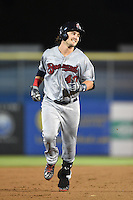 Brevard County Manatees outfielder Clint Coulter (40) runs the bases after hitting a home run during a game against the Dunedin Blue Jays on April 23, 2015 at Florida Auto Exchange Stadium in Dunedin, Florida.  Brevard County defeated Dunedin 10-6.  (Mike Janes/Four Seam Images)