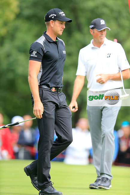 Henrik Stenson (SWE) and, Matt Kucher (USA) on the 4th green during the final round of the WGC-HSBC Champions, Sheshan International GC, Shanghai, China PR.  30/10/2016<br /> Picture: Golffile | Fran Caffrey<br /> <br /> <br /> All photo usage must carry mandatory copyright credit (&copy; Golffile | Fran Caffrey)