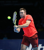 Jack Sock in action with partner Mike Bryan against Pierre-Hughes Herbert and Nicolas Mahu in their doubles Final match today<br /> <br /> Photographer Rob Newell/CameraSport<br /> <br /> International Tennis - Nitto ATP World Tour Finals Day 8 - O2 Arena - London - Sunday 18th November 2018<br /> <br /> World Copyright &copy; 2018 CameraSport. All rights reserved. 43 Linden Ave. Countesthorpe. Leicester. England. LE8 5PG - Tel: +44 (0) 116 277 4147 - admin@camerasport.com - www.camerasport.com