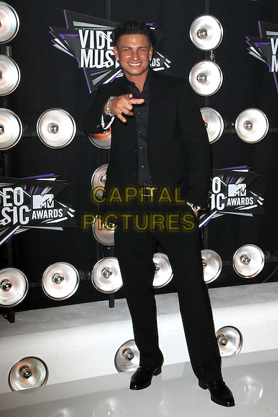 "Paul DelVecchio (aka. ""DJ Pauly D"") of Jersey Shore.Arrivals at the 2011 MTV Video Music Awards held at Nokia Theatre L.A. Live in Los Angeles, California, USA..28th August 2011.full length black suit hand pointing.CAP/ADM/KB.©Kevan Brooks/AdMedia/Capital Pictures."