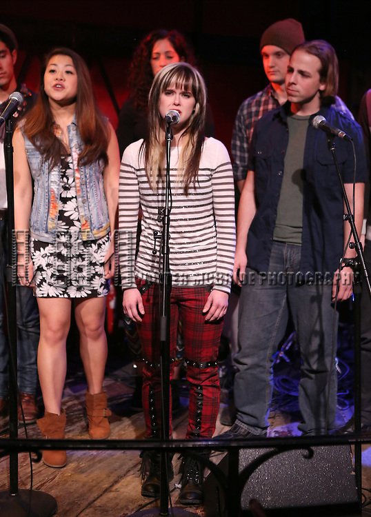 Honey Ribar with the the cast of 'One Day - The Musical' performing a sneak peek of the new pop-rock Musical at Rockwood Music Hall on January 28, 2015 in New York City.