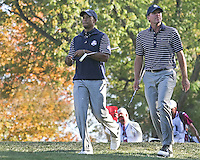 29 SEP 12 Tiger Woods and Steve Stricker walk down the fairway together during Saturdays four ball matches  at The 39th Ryder Cup at The Medinah Country Club in Medinah, Illinois.