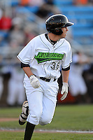 Jamestown Jammers designated hitter Danny Collins #36 hits a home run during a game against the Williamsport Crosscutters on June 20, 2013 at Russell Diethrick Park in Jamestown, New York.  Jamestown defeated Williamsport 12-6.  (Mike Janes/Four Seam Images)