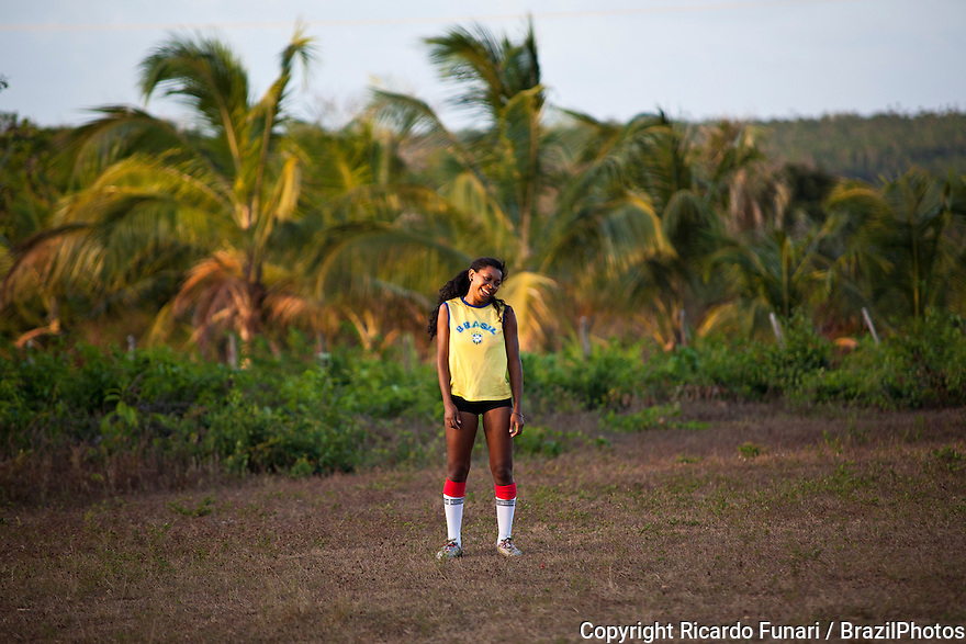 Women play soccer at Rio Grande Quilombo in Alcântara, Maranhão, Northeast Brazil. A quilombo is a Brazilian hinterland settlement founded by people of African origin. Most of the inhabitants of quilombos were escaped former slaves and, in some cases, a minority of marginalised non-slave Brazilians that faced oppression during colonization.