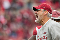 Hawgs Illustrated/BEN GOFF <br /> Paul Rhoads, Arkansas defensive coordinator in the second quarter against Mississippi State Saturday, Nov. 18, 2017, at Reynolds Razorback Stadium in Fayetteville.