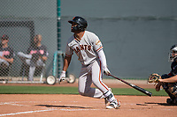 San Francisco Giants center fielder Heliot Ramos (21) follows through on his swing during a Minor League Spring Training game against the Cleveland Indians at the San Francisco Giants Training Complex on March 14, 2018 in Scottsdale, Arizona. (Zachary Lucy/Four Seam Images)