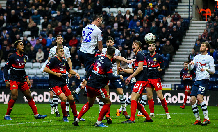 Preston North End's Andrew Hughes scores his side's equalising goal to make the score 1-1<br /> <br /> Photographer Alex Dodd/CameraSport<br /> <br /> The Emirates FA Cup Third Round - Preston North End v Doncaster Rovers - Sunday 6th January 2019 - Deepdale Stadium - Preston<br />  <br /> World Copyright © 2019 CameraSport. All rights reserved. 43 Linden Ave. Countesthorpe. Leicester. England. LE8 5PG - Tel: +44 (0) 116 277 4147 - admin@camerasport.com - www.camerasport.com