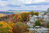 63895-16308 Camel Rock in fall color Garden of the Gods Recreation Area Shawnee National Forest IL
