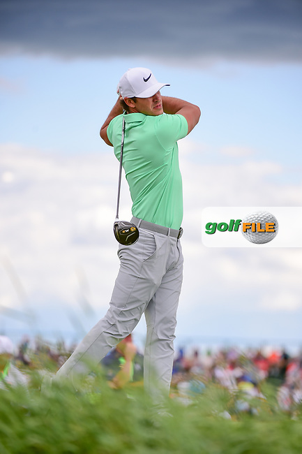 Brooks Koepka (USA) watches his tee shot on 7 during Sunday's round 4 of the 117th U.S. Open, at Erin Hills, Erin, Wisconsin. 6/18/2017.<br /> Picture: Golffile | Ken Murray<br /> <br /> <br /> All photo usage must carry mandatory copyright credit (&copy; Golffile | Ken Murray)