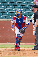 Chattanooga Lookouts catcher J.C. Boscan (15) walks off the field following the third out of an inning against the Montgomery Biscuits at AT&T Field on July 23, 2014 in Chattanooga, Tennessee.  The Lookouts defeated the Biscuits 6-5. (Brian Westerholt/Four Seam Images)